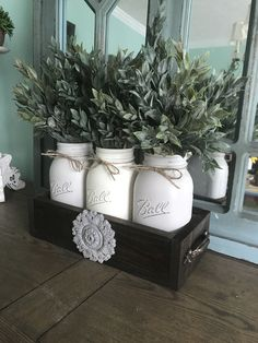 Rustic Mason jar decor - espresso planter box with mason jars