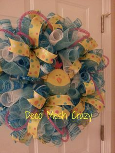 Easter and Spring Deco Mesh Wreath- www.facebook.com/decomeshcrazy