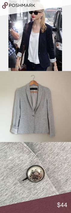 GREY Zara Basic Jersey Blazer Zara Basic Jersey Blazer in light grey. Fully lined. Body and cuff of sleeves are aligned with a white cotton that has a soft gray/beige pinstripe.Outershell: 95% viscose 5% elastane. Body lining: 100% cotton. Sleeve lining: 100% acetate. Size XS. EUC! Zara Jackets & Coats Blazers