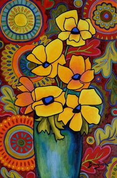 """Elisa Boughner, """"Affected Place"""" - The Art Center Highland Park Mexican Paintings, Naive Art, Mexican Art, Abstract Flowers, Whimsical Art, Painting Inspiration, Flower Art, Watercolor Art, Pop Art"""