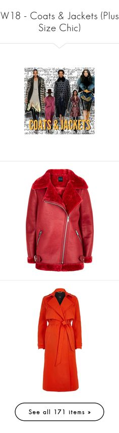 """W18 - Coats & Jackets (Plus Size Chic)"" by foolsuk ❤ liked on Polyvore featuring shoes, outerwear, coats, coats / jackets, red, women, red coat, trench coats, red trench coat and belted trench coat"