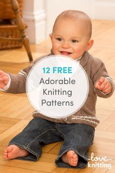 Baby Boy Knitting Patterns Free, Baby Booties Free Pattern, Baby Sweater Knitting Pattern, Baby Sweater Patterns, Knit Baby Sweaters, Knitting For Kids, Easy Knitting, Baby Knitting Patterns, Knitting Ideas