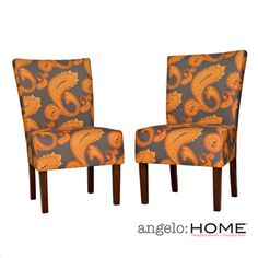 Overstock.com -angelo:HOME Bradford Desert Sunset Brown Paisley Upholstered Armless Dining Chairs (Set of 2)