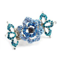 Crystal Rose Hair Jaw Clips (Blue) ** Learn more by visiting the image link.