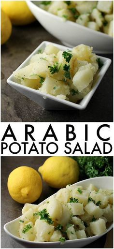 Super simple Arabic Potato Salad only has a few ingredients - potatoes, lemon, oil, garlic, and parsley Potato Dishes, Potato Recipes, Potato Snacks, Rice Recipes, Lebanese Recipes, Lebanese Cuisine, Armenian Recipes, Armenian Food, Egyptian Food
