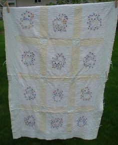 Vintage Hand Stitched Embroidered Baby Quilt Crib Blanket Wall Hanging Cutter?