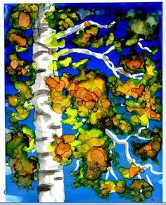 Original Alcohol Ink Painting   Birch tree 5x7 by LindaFlynnStudio, $45.00