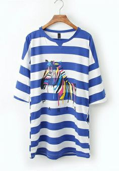 Fashoin Enchating Fashionable Bule Blending round neck Half Sleeve Print Fashion Dresses