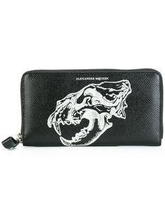 Alexander McQueen lion skull zip around wallet