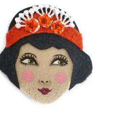 Flapper Girl Fabric Brooch Felt Brooch Art Brooch by yalipaz, $22.00