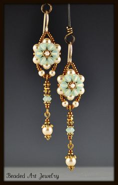 Chrysolite Opal Crystal Flower Beadwoven от beadedartjewelry