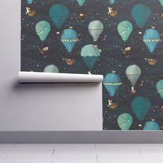 Forest Animal Hot Air Balloon Night Adve custom wallpaper by at_the_cottage for sale on Spoonflower Nautical Theme Nursery, Bee Nursery, Moon Nursery, Balloon Rides, Hot Air Balloon, Woodland Animal Nursery, Adventure Nursery, Forest Animals, Balloons
