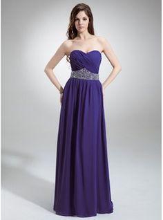 A-Linie/Princess-Linie Herzausschnitt Bodenlang Chiffon Abendkleid mit Rüschen Perlen verziert Pailletten