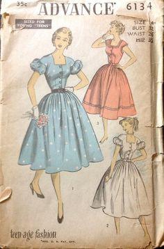 Advance 6134 1950s  Pretty Square Neck DRESS Pattern by mbchills, $15.00