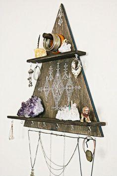 DIY Home Decor jewelry rack jewelry hanger jewelry hooks necklace by OurFolkLife by nzaghal Wood Jewelry Display, Jewelry Wall, Jewelry Organizer Wall, Jewellery Storage, Jewelry Hooks, Hanging Jewelry, Unique Jewelry, Necklace Display, Jewelry Stores