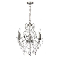 A Modern Clic Design 3 Light Bathroom Chandelier In Polished Chrome With Clear Gl Droplet Decorations The Is Ip44 Rated For Safe Use