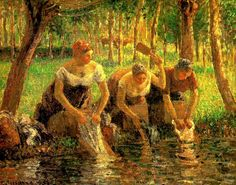 Camille Pissarro (French artist, 1830-1903)laundring-women-eragny-sur-eptes-1895
