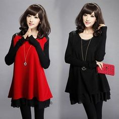 Fashion Korean Women Loose Oversized Long Sleeve Casual Tunic Swing Mini Dress