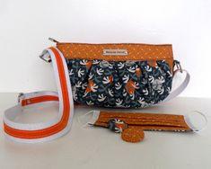 Sac Cancan à motifs orange, marine et blanc cousu par Martine - Patron Sacôtin