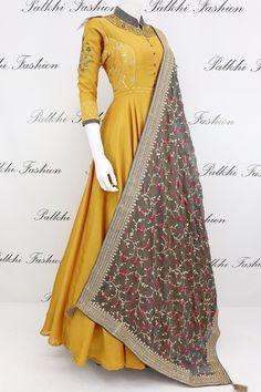 Elegant Mustard Pure Silk Designer Outfit with Gorgeous Dupatta