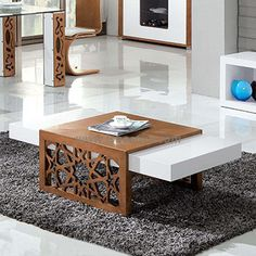 High Gloss MDF Modern Coffee Table in White CC61
