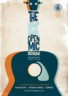 I like the overlaying colors and how the words form the bridge of the guitar.  445055759Lamps Open Mic Poster 2014 v2.jpg (440×621)