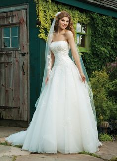 Sincerity wedding dress style 3637 Strapless tulle, beaded lace, drop waist, full tulle skirt, corset back, chapel length train.