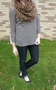 striped tee, dark skinnies, black flats, and a leopard scarf. Wearable.Fun.Fashion Blog