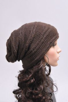 Hand knit hat winter hat woman unisex hat slouchy Chunky brown Wool Hat -ready to ship Winter Hats For Women, Slouchy Hat, Unisex, Learn To Sew, Wool Yarn, Hand Knitting, Knitted Hats, Sweaters For Women, Stylish