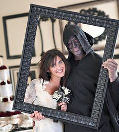 "Halloween party idea keepsake! Take a picture of all guests ""framed"" like this. Add spider webs to the frame for a spookier effect! Send them the printed photo in a thank you card or email it to them with an e-thanks!"
