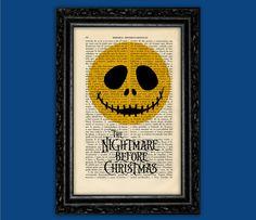 Jack Skellington Moon Face Print - Tim Burton Nº2 Halloween Nightmare Before Christmas Poster Book Art Dorm Room Print Gift Wall Poster