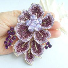 3.54 дюймов золотой тон фиолетовый горный хрусталь хрустальный цветок брошь искусство украшения EE06595C3