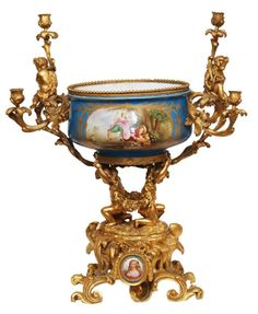 SEVRES GILT BRONZE MOUNTED PORCELAIN CENTERPIECE