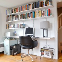 Progress in the Study! And How to Build a Hanging Shelving and Desk Unit – Plaster & Disaster – Home office organization Shelves Above Desk, Hanging Bookshelves, Home Office Shelves, Home Office Bedroom, Office Organization At Work, Bookshelf Desk, Bookshelves Built In, Built In Desk, Home Office Space