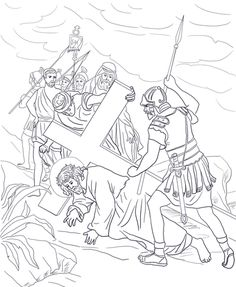 Seventh Station - Jesus Falls a Second Time Coloring page