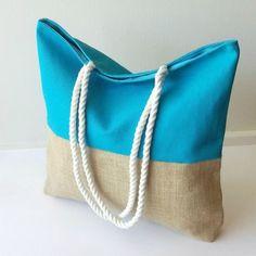 Bolso de playa - Azul de LoLahn Handmade - Bolsos, mochilas, cuellos, sombreros y gorras. por DaWanda.com
