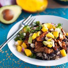 Caribbean Jerk Salmon Bowl with Mango Salsa