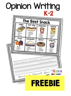 FREE Opinion writing activity for kindergarten - first grade - second grade classrooms - adorable graphic organizer with a sentence starter and picture word bank so students can be successful and confident about opinion writing - use words to write supporting details and reasons for your opinion #kindergartenwriting #firstgradewriting #kindergartenreading #firstgradereading
