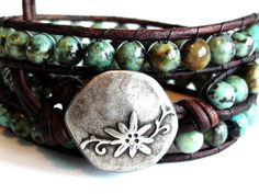 African Turquoise Leather Triple Wrap Bracelet by TaphiaDesigns, $40.00