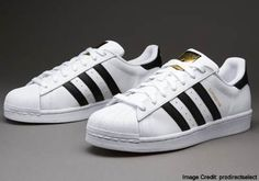 Adidas Superstar   Just as your Chucks are a classic, so too is this pair. Loved those three diagonal stripes? You'll love them more when you know you got plenty of choices that include styles and stripes lined with metallic gold. Cooh, huh? Wait 'til you complement your denim get up with them, and you'll see how dramatically this pair accents even a simple plain tee and