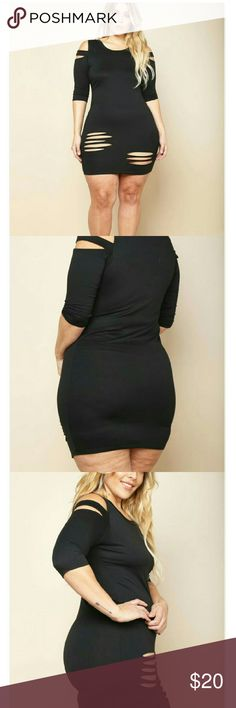 Plus size slashed dress