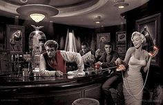 CHRIS CONSANI ART POSTER ~ COFFEE DREAMS 24x36 Java Marilyn Monroe Dean Elvis
