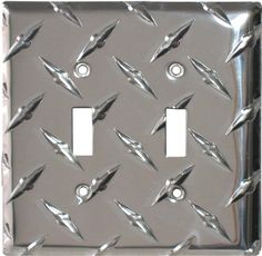 Polished Diamond Plate Tread Light Switch Plates, Outlet Covers, Wallplates - color coded access points (blue red ???)