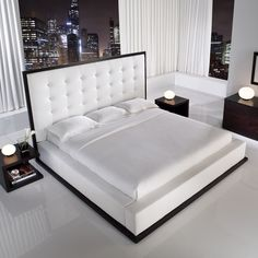 Designer Bed in Wenge, White Leather.