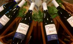 Door Peninsula Winery, a Riesling, Door County, Wisconsin. Pretty blue bottles and nice display.  #wine #wi