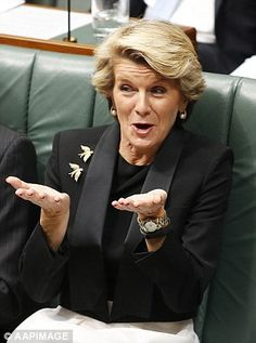 Australia Minister for Foreign Affairs Julie Bishop is a fan of 'investment pieces' such as Armani suits and accessorises with brooches