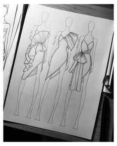 Dress Design Drawing, Dress Design Sketches, Fashion Design Sketchbook, Fashion Design Portfolio, Fashion Design Drawings, Dress Designs, Art Sketchbook, Fashion Illustration Poses, Illustration Mode
