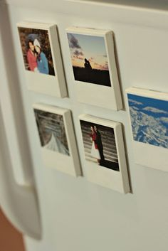 DIY Polaroid magnets. buy some wooden rectangle from the craft store, paint them white, add a magnet, and mod podge photos to them.