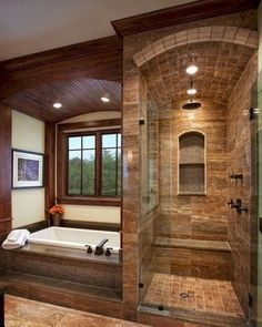 Master Bathroom Walk In Shower Ideas is part of Rustic bathroom designs Among the ideas is to get wood vanities with its normal wood finish without the laminates If you're looking for master bath - Dream Bathrooms, Beautiful Bathrooms, Small Bathrooms, Log Cabin Bathrooms, Modern Bathrooms, Country Bathrooms, Rustic Bathroom Designs, Rustic Master Bathroom, Master Shower