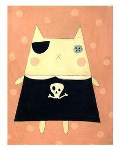 Pop Modern Art, Folk Art Print (Kitty Fifine Pirate) from junker jane etsy shop